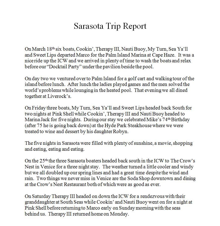 Sarasota Trip Report