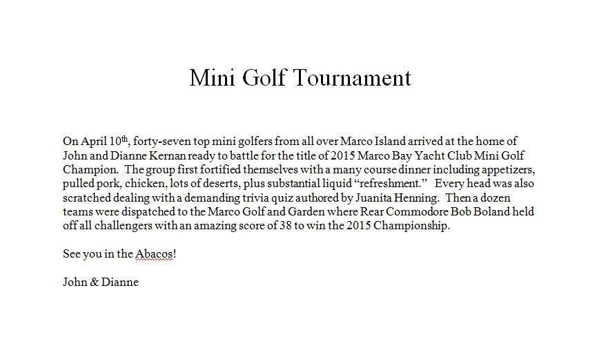 Mini Golf Tournament Report