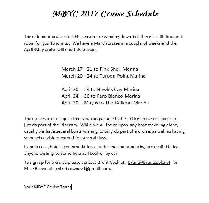 MBYC Extended Cruises March-May, 2017