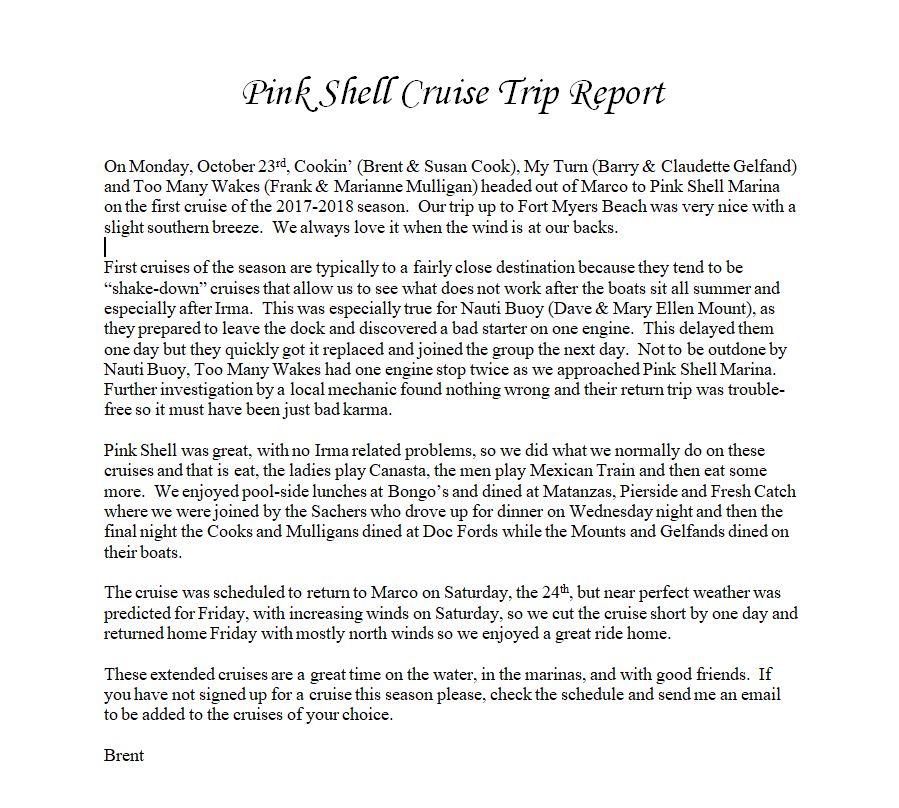 Pink Shell Cruise Trip Report