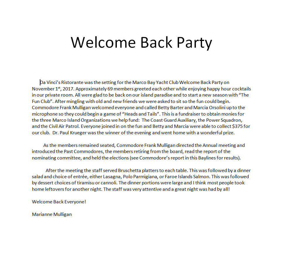 Welcome Back Party Report