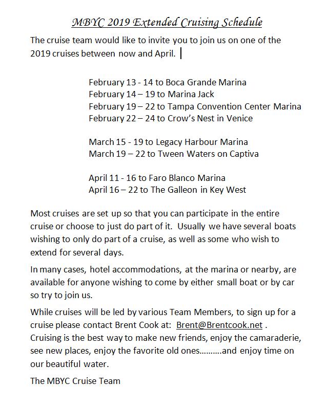 MBYC Extended Cruises for Feb thru April 2019